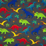 French Terry Fabric - Jurassic Dinosaurs in Grey-French Terry-Jelly Fabrics