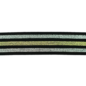 Elastic - Gold and Silver Stripes on Black elastic 40mm-Elastic-Jelly Fabrics