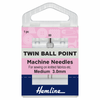 Hemline Sewing Machine Needles - Twin Ball Point - 80/12 - 3mm (1 piece)-Accessories-Jelly Fabrics