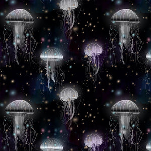 Organic Cotton Jersey Fabric - Jellyfish in Black-Organic Jersey-Jelly Fabrics