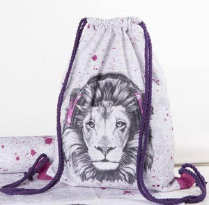 CUT & SEW - DIY Kit for Lion in Pink Headphones Gym Bag-DIY Kit-Jelly Fabrics