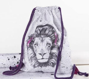 CUT & SEW - DIY Kit for Lion in Pink/Black Headphones Gym Bag-DIY Kit-Jelly Fabrics