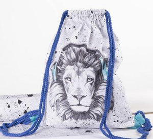CUT & SEW - DIY Kit for Lion in Turquoise/Black Headphones Gym Bag-DIY Kit-Jelly Fabrics