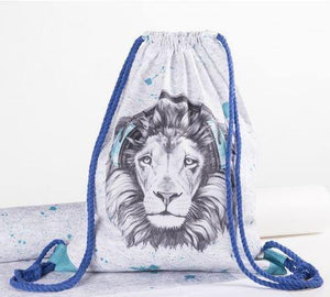 CUT & SEW - DIY Kit for Lion in Turquoise Headphones Gym Bag-DIY Kit-Jelly Fabrics