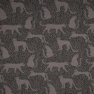 Brushed French Terry Fabric - Leopard in Grey