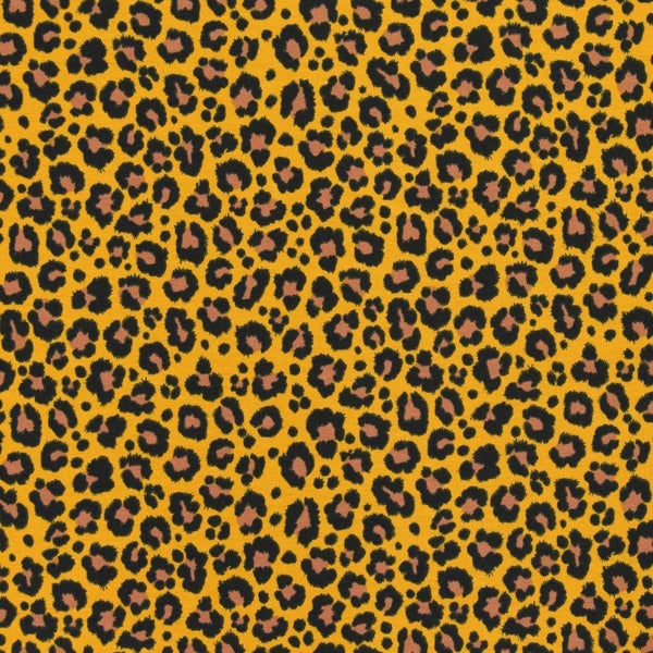 Jersey Fabric - Leopard in Mustard/Yellow