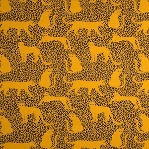 Brushed  French Terry Fabric - Leopard in Ochre