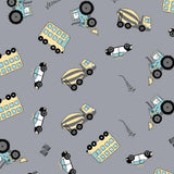 Jersey Fabric - Colour Changing Vehicles in Grey-Jelly Fabrics