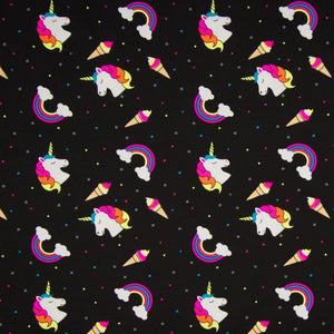 Jersey Fabric - Neon Rainbows and Unicorns
