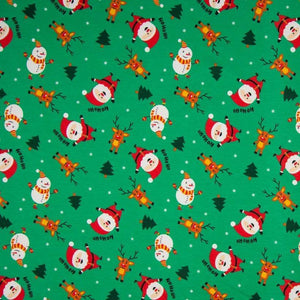 Cotton Jersey Fabric - Santa and Snowman in Green
