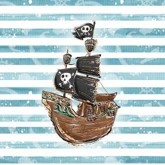 Sweatshirt Knit Panel - Pirate Ship Striped