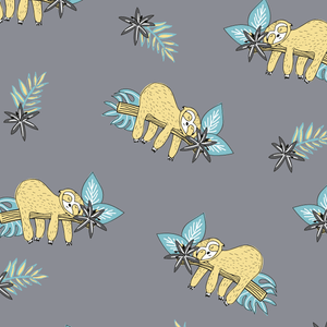 Jersey Fabric - Colour Changing Sloths in Grey-Jelly Fabrics