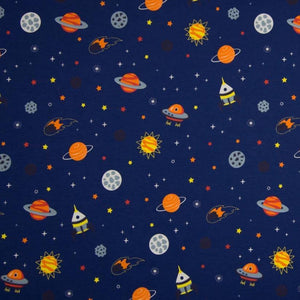 Cotton Jersey Fabric - Space in Navy Blue-Knit-Jelly Fabrics