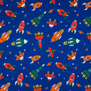 Cotton Jersey Fabric - Space Rockets in Navy Blue-Knit-Jelly Fabrics