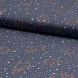 Jersey Fabric - Foil Printed Animals in Stars Grey-Jersey Fabric-Jelly Fabrics