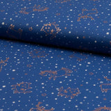 Jersey Fabric - Foil Printed Animals in Stars Blue-Knit-Jelly Fabrics