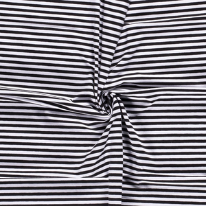 Jersey Fabric - Black with White Stripes-Knit-Jelly Fabrics
