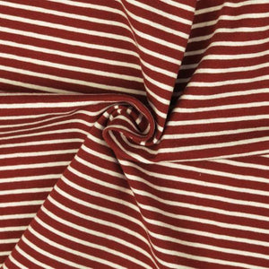 Jersey Fabric - Red with White Stripes