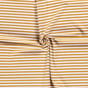 Jersey Fabric - Ochre with White Stripes-Jersey Fabric-Jelly Fabrics