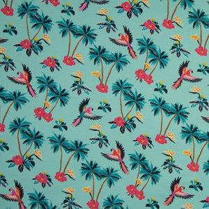 Jersey Fabric - Tropical in Mint-Jersey Fabric-Jelly Fabrics