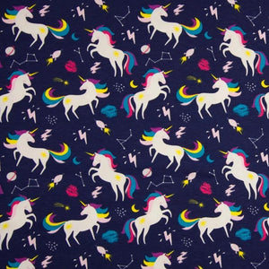 Cotton Jersey Fabric - Rainbow Unicorns in Blue-Knit-Jelly Fabrics