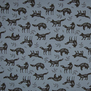 Jersey Fabric - Wolves in Blue-Jelly Fabrics