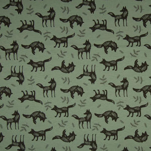 Jersey Fabric - Wolves in Green-Jelly Fabrics