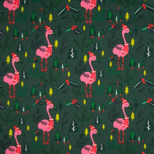 PRE-ORDER!!! - Brushed Sweatshirt Fabric - Xmas Flamingo in Dark Green-French Terry-Jelly Fabrics