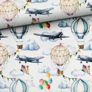 French Terry Fabric - Air Balloons and Airplanes