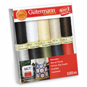 Gutermann Sew-All Thread Set - Assorted Basics (10x 100M)-DIY Kit-Jelly Fabrics