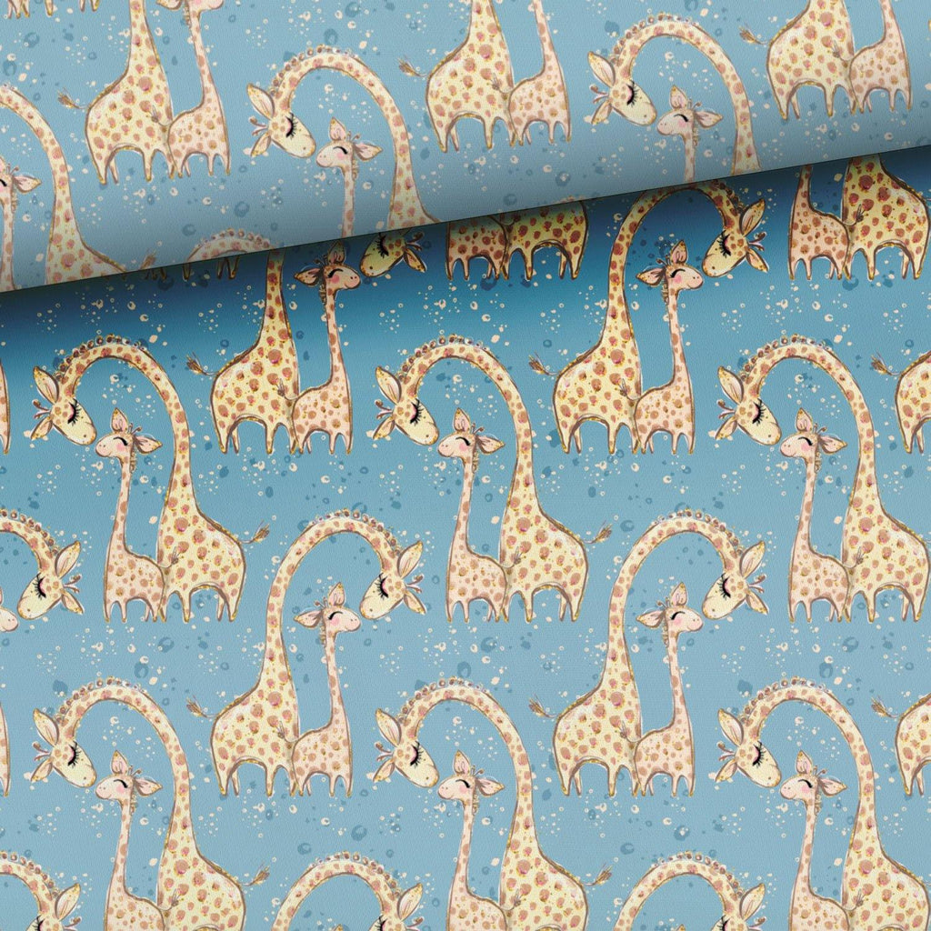 Jersey Fabric - Giraffe with a Baby