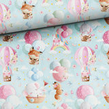 French Terry Fabric - Animals on Airballoons-French Terry-Jelly Fabrics