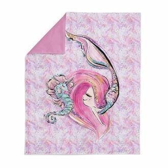 Cotton Fabric Panel - Mermaid and Seahorse (Large)
