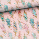 Jersey Fabric - Boho Feathers in Pink-Jersey Fabric-Jelly Fabrics