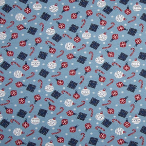 PRE-ORDER!!! - Cotton Jersey Fabric - Christmas Bubbles in Light Blue-Jersey Fabric-Jelly Fabrics