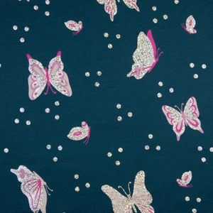 Cotton Jersey Fabric - Foil Printed Butterflies in Jeans