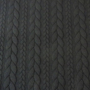 Cable Knit Jacquard Jersey Fabric - Solid in Black-Jacquard-Jelly Fabrics