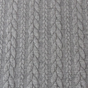 Cable Knit Jacquard Jersey Fabric - Solid in Dark Grey-Jacquard-Jelly Fabrics