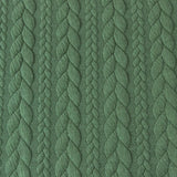 Cable Knit Jacquard Jersey Fabric - Solid in Green-Jacquard-Jelly Fabrics