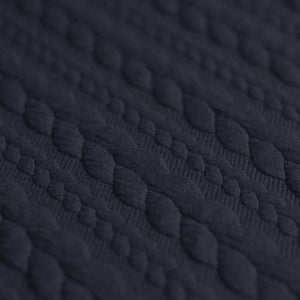Cable Knit Jacquard Jersey Fabric - Solid in Navy Blue-Jacquard-Jelly Fabrics