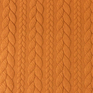 Cable Knit Jacquard Jersey Fabric - Solid in Orange-Jelly Fabrics