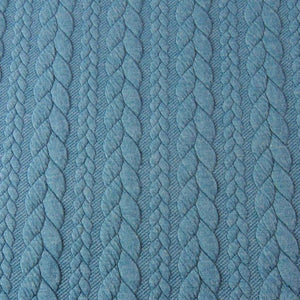 Cable Knit Jacquard Jersey Fabric - Solid in Petrol-Jacquard-Jelly Fabrics