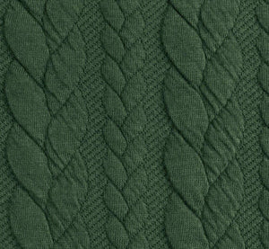 Cable Knit Jacquard Jersey Fabric - Solid in Army Green-Jacquard-Jelly Fabrics