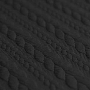 Cable Knit Jacquard Jersey Fabric - Solid in Black-Jelly Fabrics