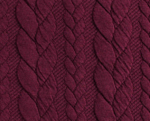 Cable Knit Jacquard Jersey Fabric - Solid in Purple Bordeaux-Jacquard-Jelly Fabrics