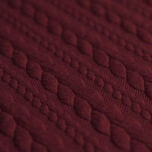 Cable Knit Jacquard Jersey Fabric - Solid in Bordeaux-Jacquard-Jelly Fabrics