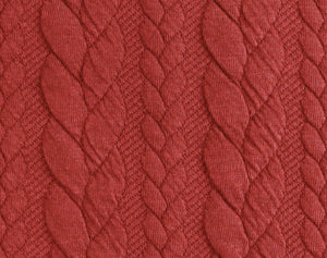 Cable Knit Jacquard Jersey Fabric - Solid in Brick Red-Jacquard-Jelly Fabrics