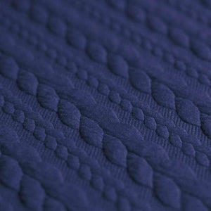 Cable Knit Jacquard Jersey Fabric - Solid in Cobalt-Jacquard-Jelly Fabrics