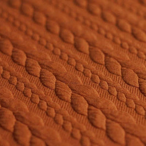 Cable Knit Jacquard Jersey Fabric - Solid in Cognac-Jacquard-Jelly Fabrics