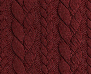 Cable Knit Jacquard Jersey Fabric - Solid in Dark Bordeaux-Jacquard-Jelly Fabrics